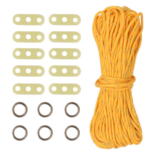 Guy Cord Kit, including 10 adjusters, 6 cord rings and 20m high visibility cord