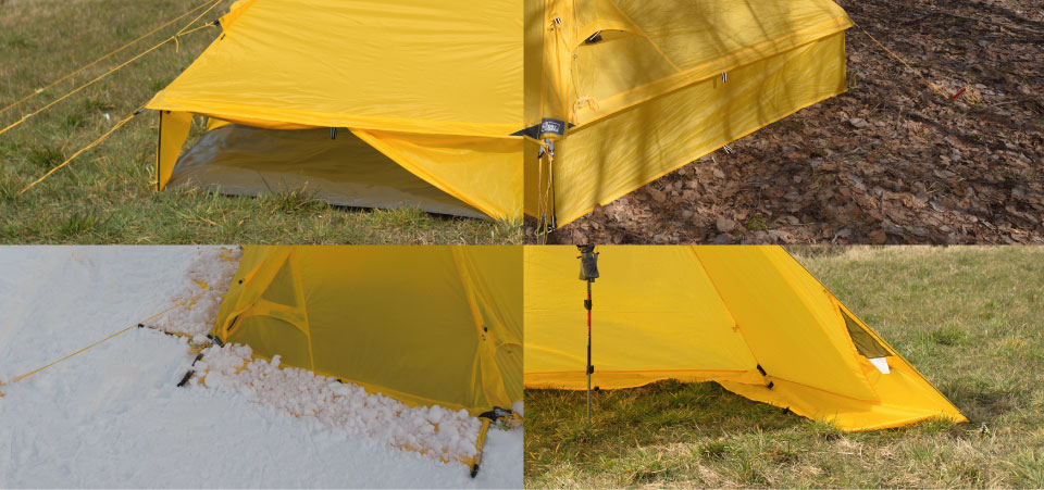 Four different sidewall options for the Modular Shelter System