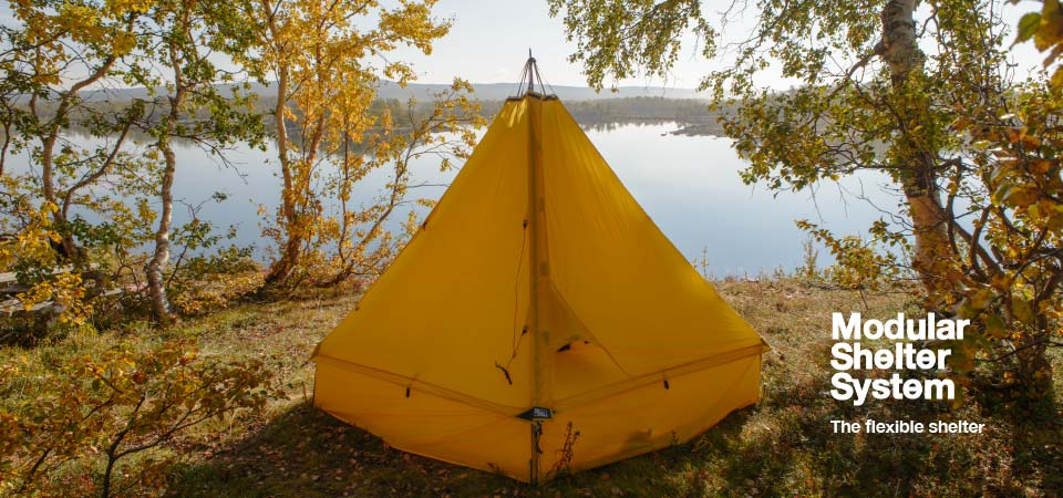 Shelter pitched by lake - Design, Configure, Pitch your own shelter