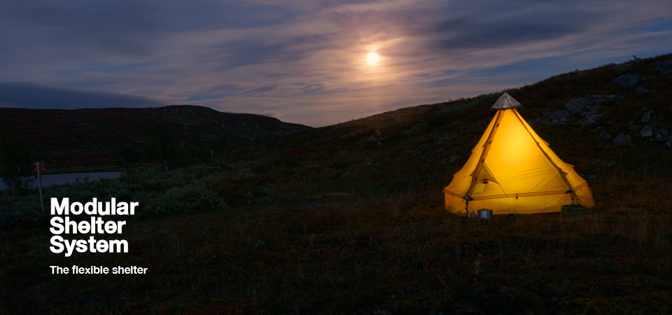 Shelter at night with moon - Design, Configure, Pitch your own shelter