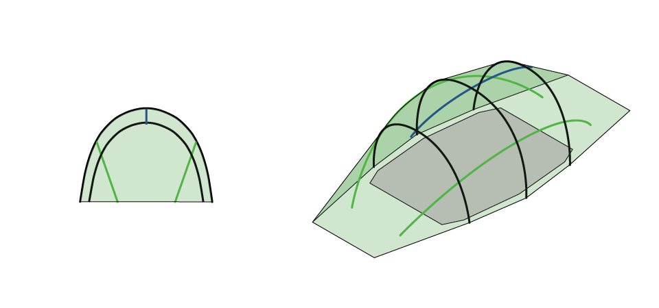 Illustration of Quadratic Tent showing all poles