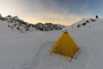 Modular Shelter at sunset, pitched on snow