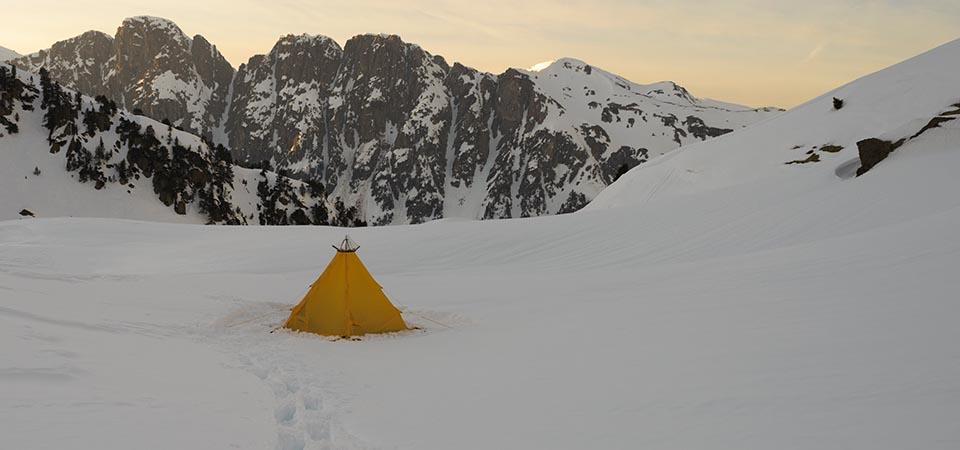 Modular Shelter pitched on snow