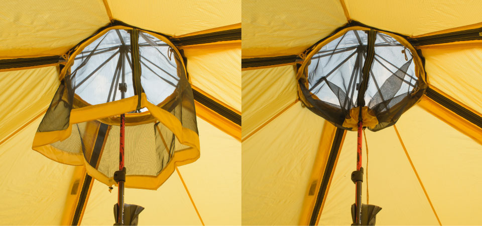 Two pictures of a Modular Shelter from inside, with Insect Ceiling open and closed.