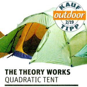 Quadratic Zelt, mit Outdoor Magazin Kauf-Tipp Logo