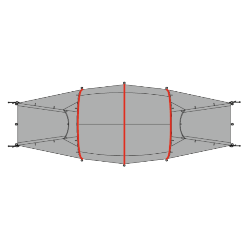 Plan of Quadratic Tent showing main poles