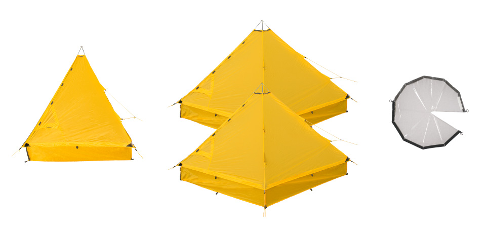 Required components for a 5R Shelter: Single Element, 2xDouble Elements, Rain Ceiling