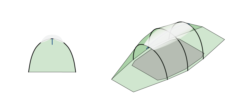 Illustration of Quadratic Tent showing Top pole and snow
