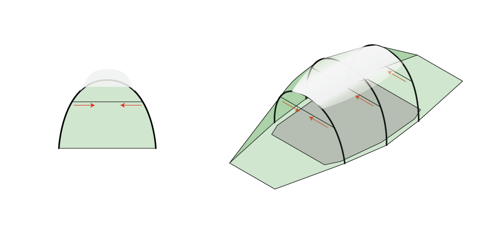 Quadratic Tent, showing the wind straps supporting the weight of snow