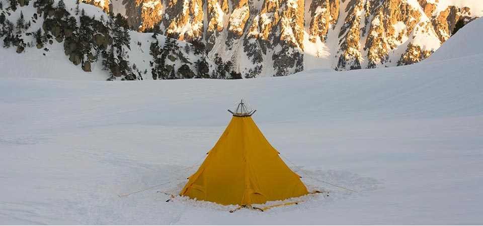 Modular Shelter pitched in snow