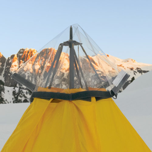 Rain Ceiling™, fitted to top of Modular Shelter in the mountains