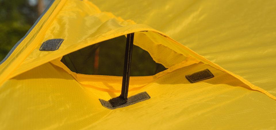 Modular Shelter side vent, in open position